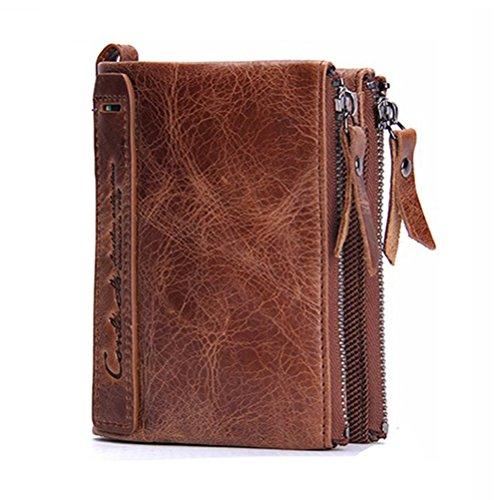 Men Coin Purse Bifold Wallet Genuine Leather Zipper Change Purse Coin Pouch Bill Holder Wallet