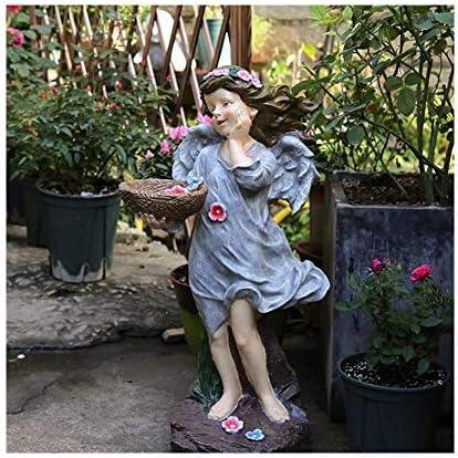 """樹脂エンジェル彫刻の装飾、庭の装飾、庭の装飾11.81"""" X 9.84"""" X25.6"""" (Color : Gray)"""