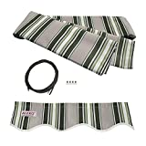 Aleko Awning Fabric Replacement 12x10 Ft for Retractable Awning, MULTISTRIPE GREEN
