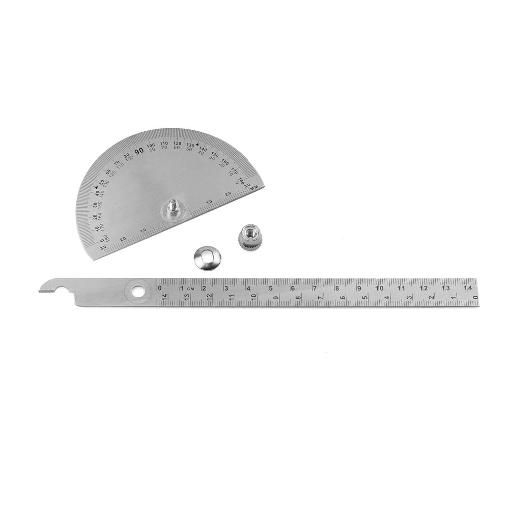 0-180 Degree Stainless Steel Protractor Angle Finder with 0-145mm Arm Measuring Ruler Tool JTKZone