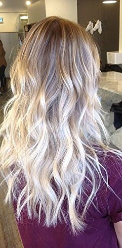 Ugeat 16Inch Silky Straight Nano Ring Tip Hair Extensions Balayage Ombre Remy Huamn Hair Keratin Stick Tip Extensions Color #4 Fading To #60 Platinum Blonde Human Hair Extensions