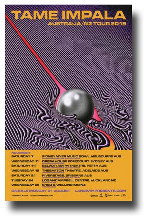 """Tame Impala Poster - 11 x 17 Promo for """"Currents"""" Tour 2015 OZ/NZ"""