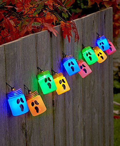 Costume 80s Ideas Chick (Halloween Mason Jar String Light Set GHOSTS w/ 6 Hour Timer Halloween)