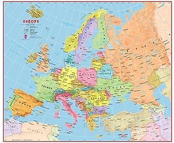 Cartina Europa Fisica Con Fiumi.Bambini Mappa Di Europa Politica Colorata Laminato Con Barre Di Appesa Amazon It Casa E Cucina