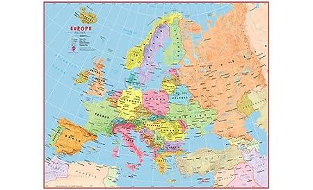 Europa Cartina Politica Con Capitali.Bambini Mappa Di Europa Politica Colorata Laminato Con Barre Di