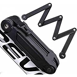 ANTIMAX Ultra Strong Alloy Steel 6 Joints Folding Bike Lock Bicycle Lock with 3 Keys Anti Theft Black