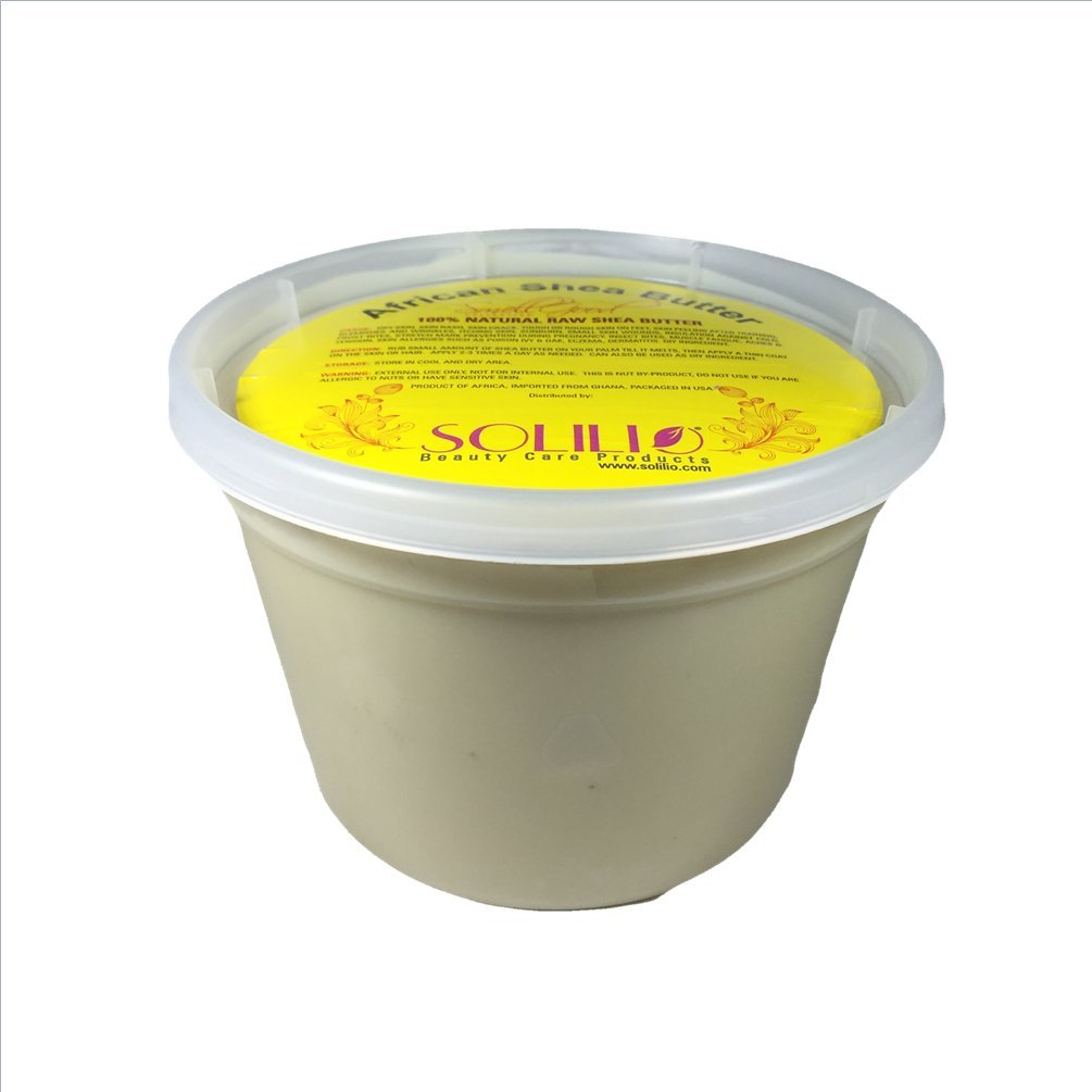 SmellGood - Pure Unrefined African Shea Butter, natural and handmade, ivory color, packed in 16 oz food grade resealable container, 18 Units included