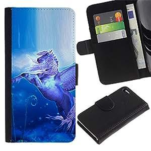 KingStore / Leather Etui en cuir / Apple Iphone 4 / 4S / Pegasus vuelo Alas Caballo Místico Azul