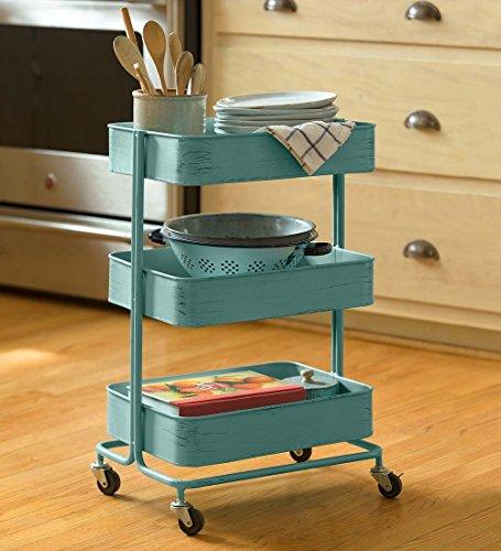 rolling three tier blue metal cart. Black Bedroom Furniture Sets. Home Design Ideas