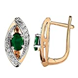 1.30 Ct. 14K Rose Gold Natural Round White Diamond & Oval Green Emerald Hoop Earrings For Women
