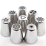 8pcs Set Russian Tulip Nozzle Perfect for Cake Cupcake Decorating Icing Piping Nozzles Rose Nozzles Tips