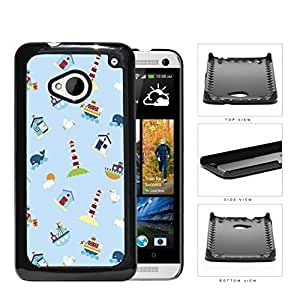 Nautical Lighthouse Ship Boat Whales Hard Plastic Snap On Cell Phone Case HTC One M7