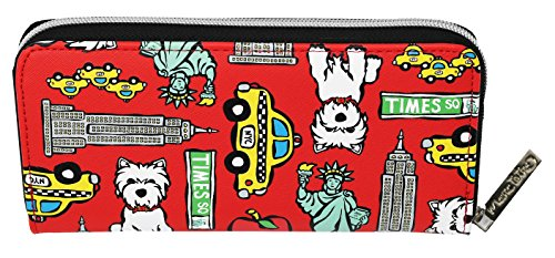Marc Tetro Westie and NYC Pattern on Red Zipper Wallet - Large (Wallet Westie)