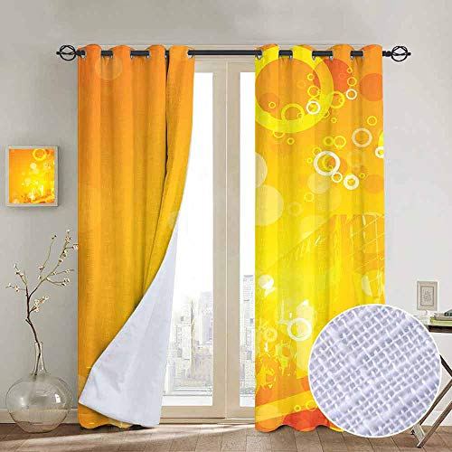 NUOMANAN Blackout Curtains for Bedroom Orange,Abstract Composition with Circles Dots Artistic Energetic Colors Sunburst,Orange Yellow White,Darkening Grommet Window Curtain-1 Pair 54