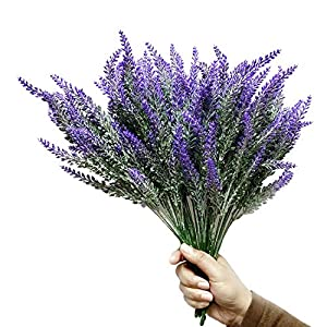 WsCrafts 12Pcs Artificial Lavender Flowers Bouquet Fake Lavender Plant Bundle - Simulation of Lavender Wedding Home Garden Patio Decor 25