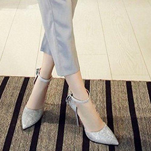 Talons Cheville à Femmes Aiguille Xianshu Nœud Papillon Escarpins Bout Pointu Pompes Satin Sangle de Chaussures Hauts Argent FSnXwq