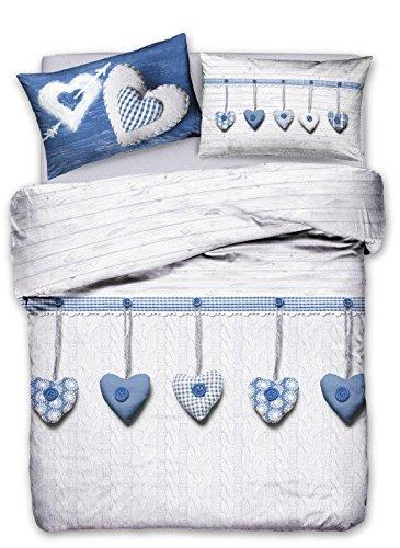 Offerta di Primavera Letto Matrimoniale : Copriletto Estivo + Completo  lenzuola in cotone Cupido Cuori Colore BLU Rinnova la tua camera da letto !