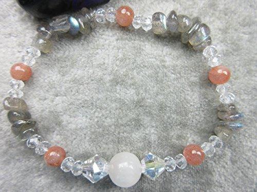 - Genuine Selenite, Labradorite and Peach Moonstone Healing Bracelet Promotes Weight Loss Stamina