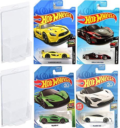 Road Speed Cars White Hot Wheels McLaren 2018 Exotics / Factory Fresh - 2019 Roadster Porsh Spyder Black & Mercedes AMG GT3 4-Car Bundle