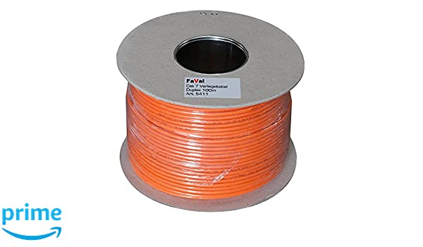 Faval k5411 Cable de instalación Cat7 100 m Duplex Orange Bobina Cable de red Cable de instalación LAN Cable Cable de datos Cobre 2 x 4 x 2 x AWG23/1: ...