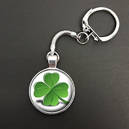 Four Leaf Clover Good Luck Pendant On A Snake Keyring Gift N41