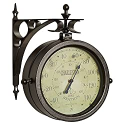 8 Two Sided Analog Wall Clock & Thermometer Indoor Outdoor Home Decoration
