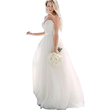 Fishlove Simple Vestidos De Novia Spaghetti Straps Tulle Bridal Gowns Beach Wedding Dresses 2017 W34