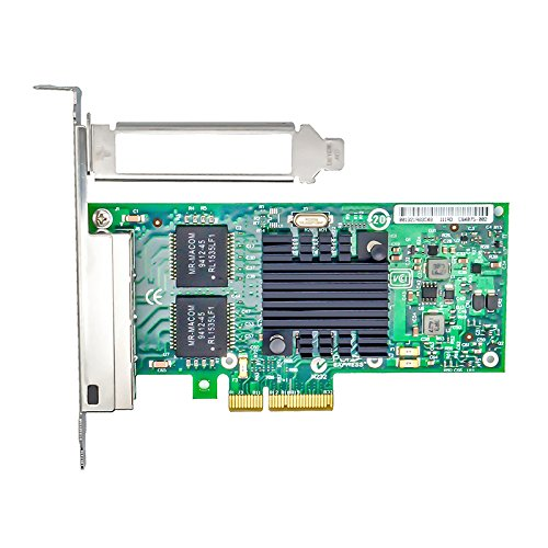 Jeirdus for Intel 82580 Chip I340-T4 E1G44HT 1G Gigabit Ethernet Network Adapter (NIC), Quad Copper RJ45 Ports, PCI Express 2.0 X (Pci Quad)