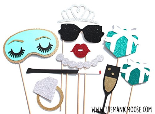Breakfast At Tiffany's Photo Booth Props - 10 Piece Prop Set with Glitter
