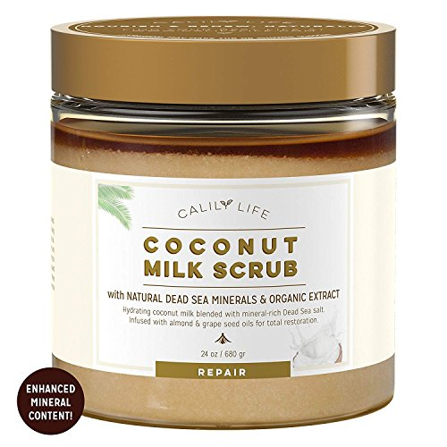 Calily Life Organic Coconut Milk Scrub with Dead Sea Minerals, 24 Oz. – Deep Nourishment and Moisturizing- Exfoliates, Removes Wrinkles, Clears Eczema, Gets Skin Smooth & Revitalized ()