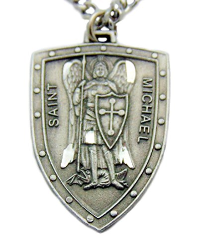 Pewter Pendant Keychain - Saint Michael Shield Pewter Medal 1 1/4 Inch on 24 Inch Stainless Steel Chain Gift