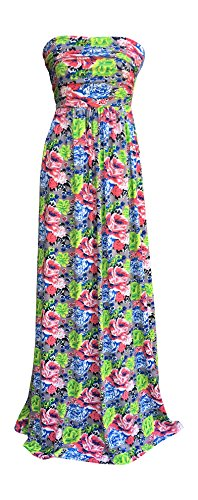 Maxi Dress by Lucky Love, Strapless, Vintage Floral Print and Black