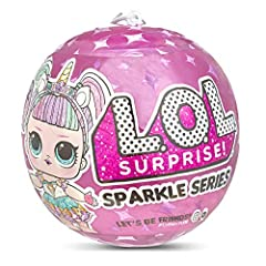 Unbox 7 sparkly surprises with L.O.L. Surprise! sparkle series. Twelve fan favorite characters got a sparkly makeover, and you can find them with stunning glitter finishes and hairstyles! Look for punk Boi, boss Queen and other Five character...
