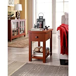 Amazon Com Whalen Furniture End Table With Drawer Red