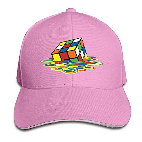 Cowgirl Costume Australia (Safan532 Creative Rubiks Cube Melting Cube Fashion Design Unisex Cotton Sandwich Peaked Cap Adjustable Baseball Caps Hats Pink)