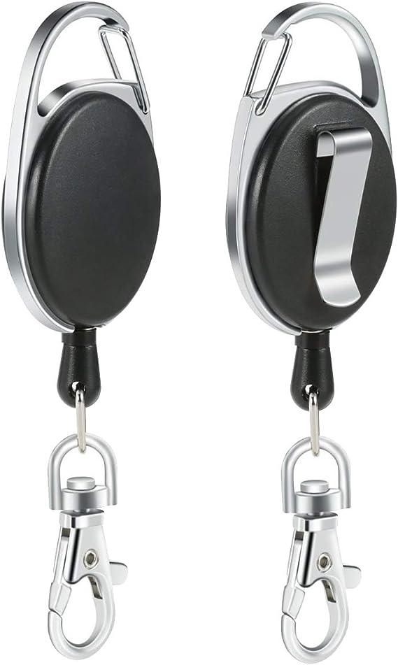 Clip para carrete con 70 cm // 27.5 pulgadas de cuerda resistencia Logotipo retr/áctil negra ROBERT 3 paquetes de llaveros retr/áctiles de alta,Llaveros con clips retr/áctiles