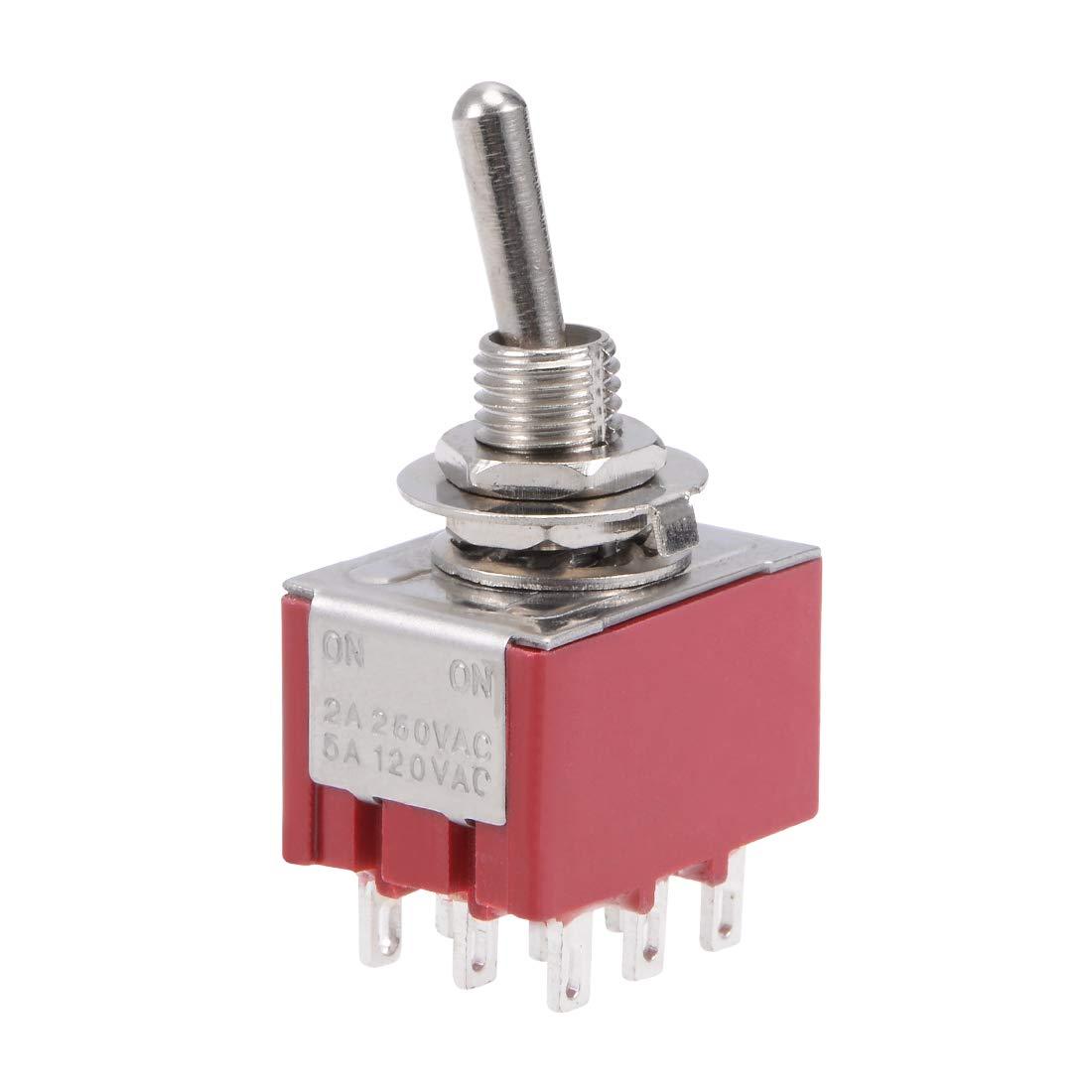 DIYhz 5Pcs AC 250V//2A 120V//5A ON//ON 2 Position 9 Pin SPDT Mini Micro Toggle Switch