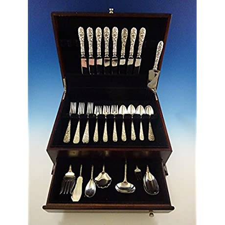 Rose By Stieff Sterling Silver Flatware Set For 8 Service 40 Pieces Repousse
