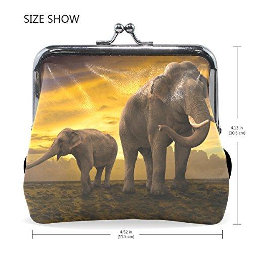 Family Fermeture Portefeuille Petit Coosun Sur Multicolore Elephants Sunset Coin En Pression Cuir Bourse D'embrayage Monnaie HqgR5qx1wB