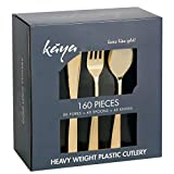 Kaya Collection - Plastic Silverware Set - Gold Cutlery - Disposable Flatware 80 Forks, 40 Knives and 40 Spoons (160 Pieces)
