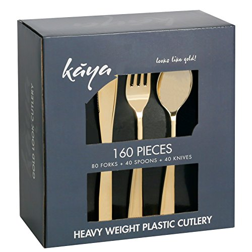 Kaya Collection - Disposable Plastic Gold Silverware Cutlery, Shiny Metallic Flatware 80 Forks, 40 Knives and 40 Spoons (160 (Plastic Gold Silverware)