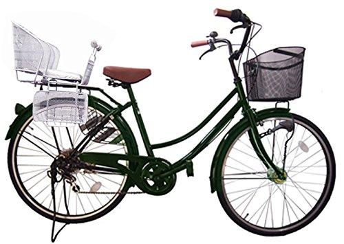 Lupinusルピナス 自転車 26インチ LP-266UA-KNR-S 軽快車 シマノ外装6段ギア オートライト 後子乗せシルバー B073LL9K8L グリーン グリーン