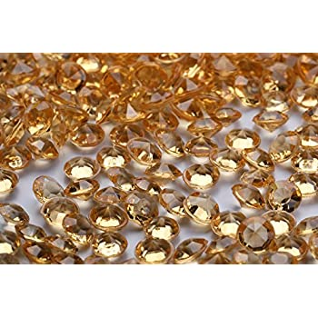 5000 pcs/Pack Wedding Table Scatter Confetti Crystals Acrylic Diamonds 6 mm Rhinestones for Wedding, Bridal Shower, Vase Beads Decorations (6mm, Champagne,More Gold in Hue)