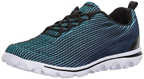 Propet Womens Travelactiv Xpress Sneaker  Black Blue  7 5 W Us