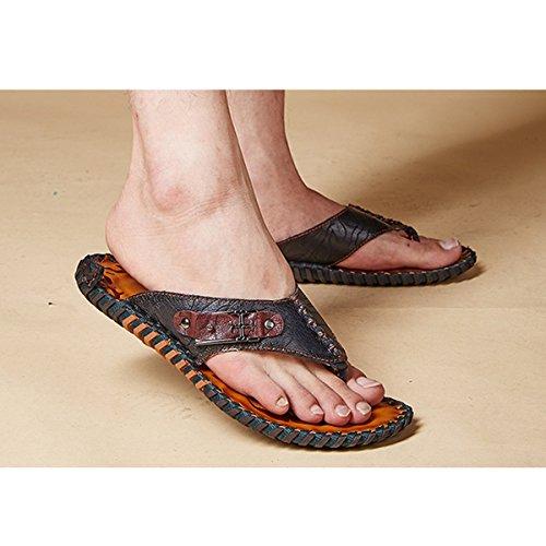 Pinuo 2016 Nieuwe Zomer Mode Mannelijke Slippers Sandalen Casual Lederen Slippers Voor Mannen Zwart