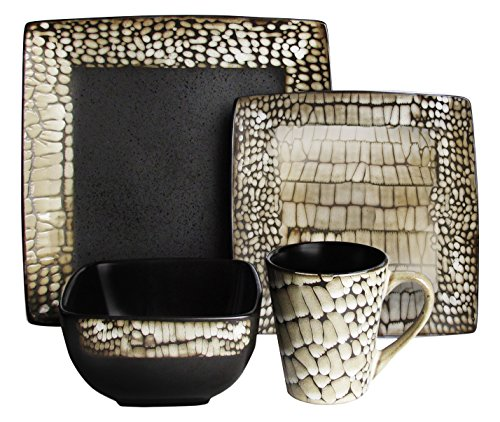 American Atelier Boa 16-Piece Square Dinnerware Set, White