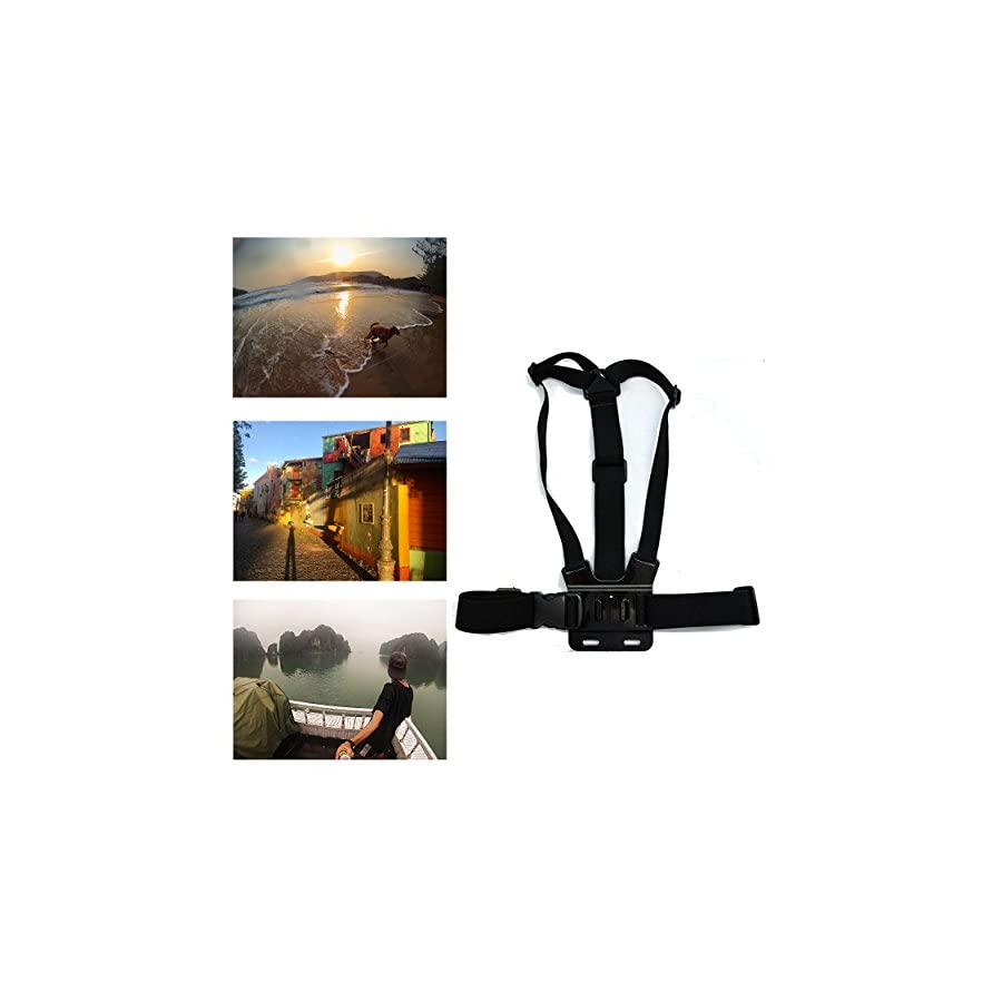 Navitech Adjustable Elastic Body Chest Strap Mount Belt Harness For The Amzdeal 4K Waterproof WiFi Action Cam 173 Degree Wide Angle Action Lens with 1080P 60FPS 12MP Sports Camera