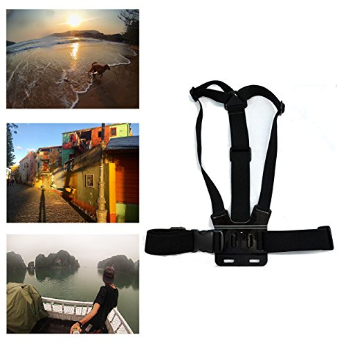 Navitech Adjustable Elastic Body Chest Strap Mount Belt Harness for The Campark ACT74 Sport 4K/1080P WiFi 16MP Action Camera