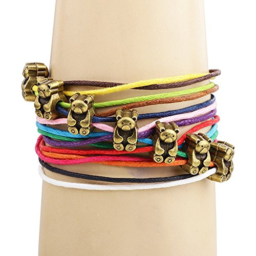Winter's Secret Bronze Bear Pattern Hand Braided Diy Color Wax Rope Ancient Wrap Bracelet