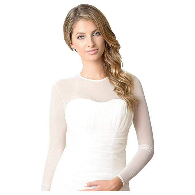 Amazon.com: Sheer Body de malla de boda para vestido de ...